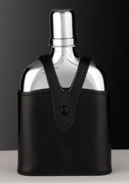 Taschenflasche mit Trinkbecher und Lederetui aus Sterling Silber
