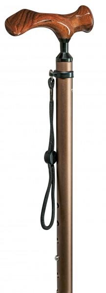 Gehstock aus Leichtmetall Comfort-Stock Holzoptik Höhenverstellbar Gehhilfe Spazierstock
