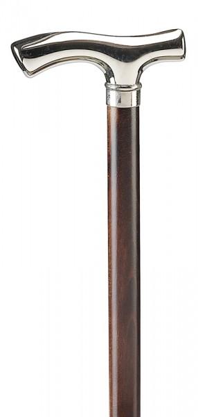 Glanzverchromter Fritzgriff auf braunen Stock