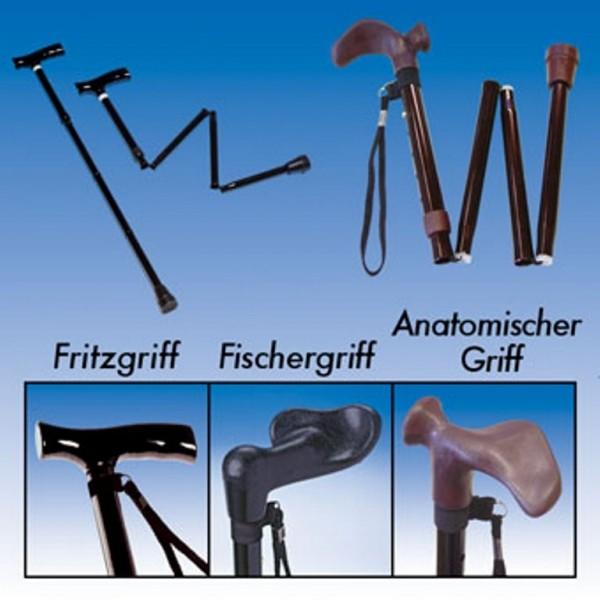 Gehstock Faltbar mit Holz Fritzgriff