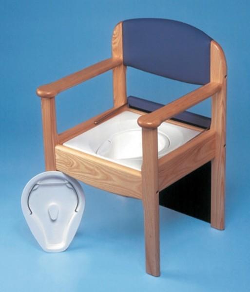 Holz Toilettenstuhl mit einem blauen Bezug